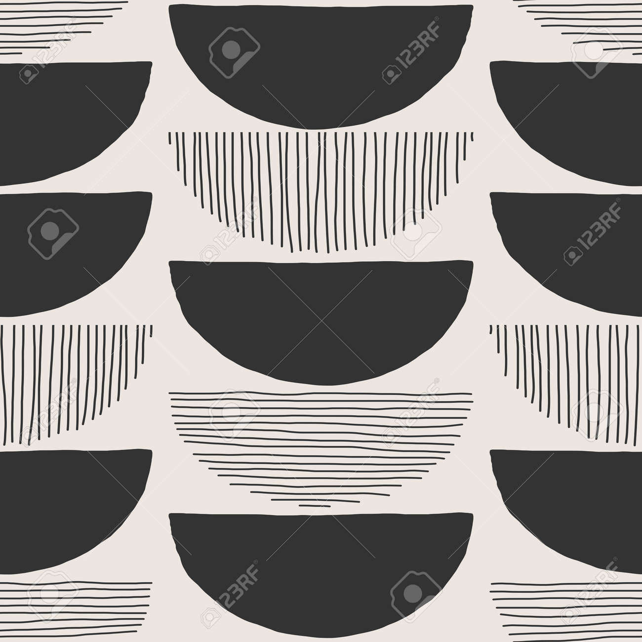 Trendy minimalist seamless pattern with abstract creative hand drawn composition - 169626218