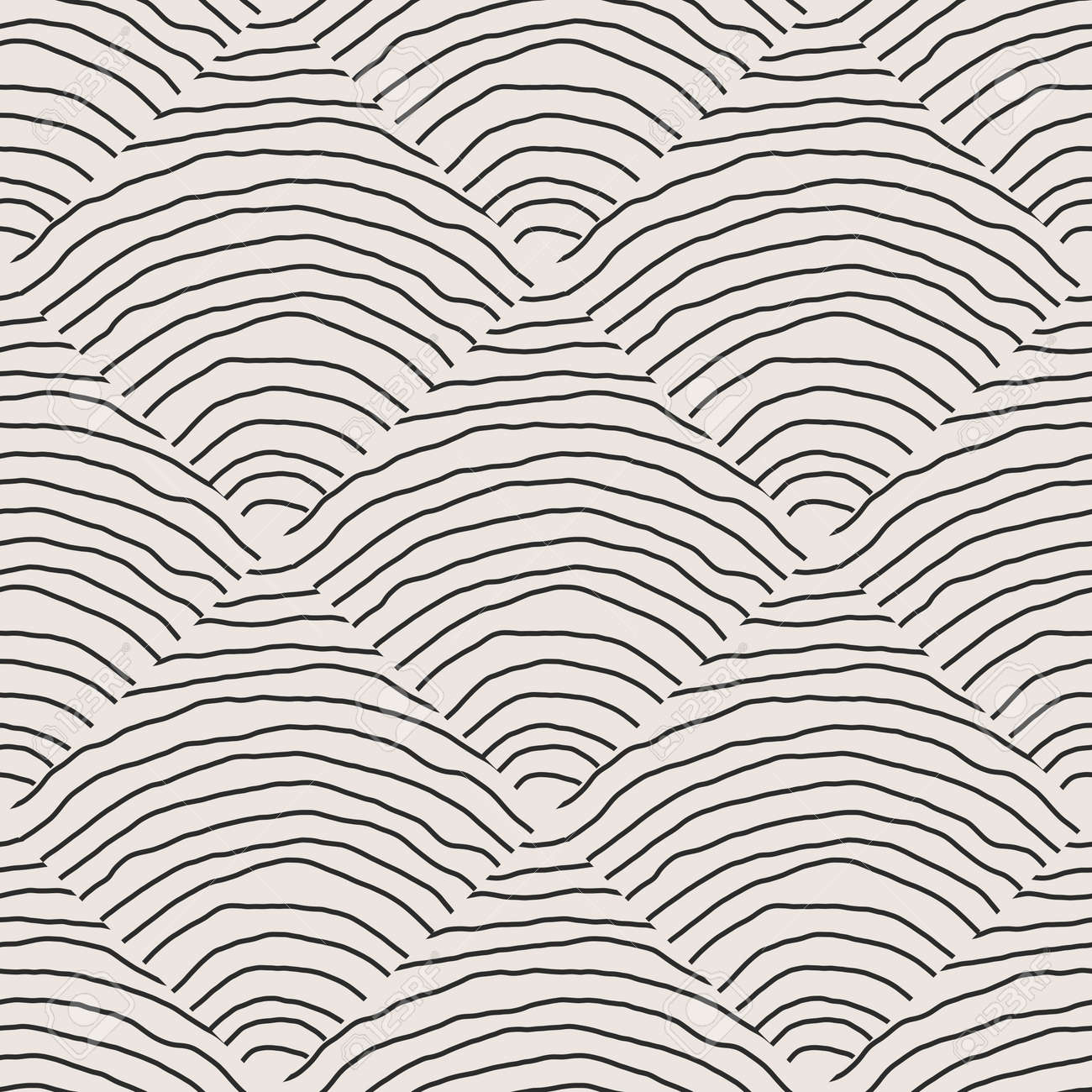 Trendy minimalist seamless pattern with abstract creative hand drawn composition - 169626221