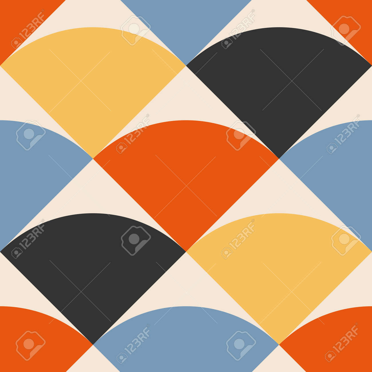 Trendy minimalist seamless pattern with abstract creative geometric composition - 169626222