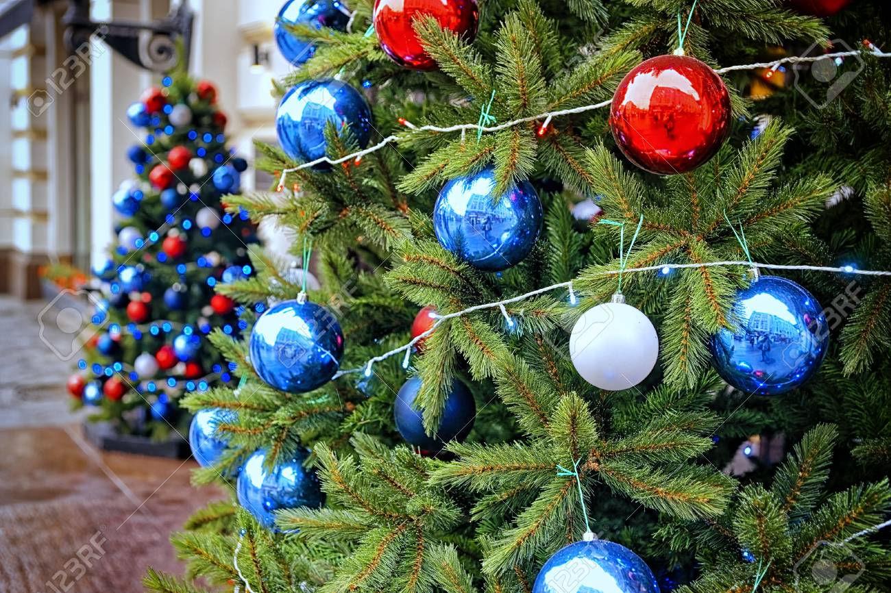 Red Blue And White Decorating Balls On The Christmas Trees At Stock Photo Picture And Royalty Free Image Image 34752148