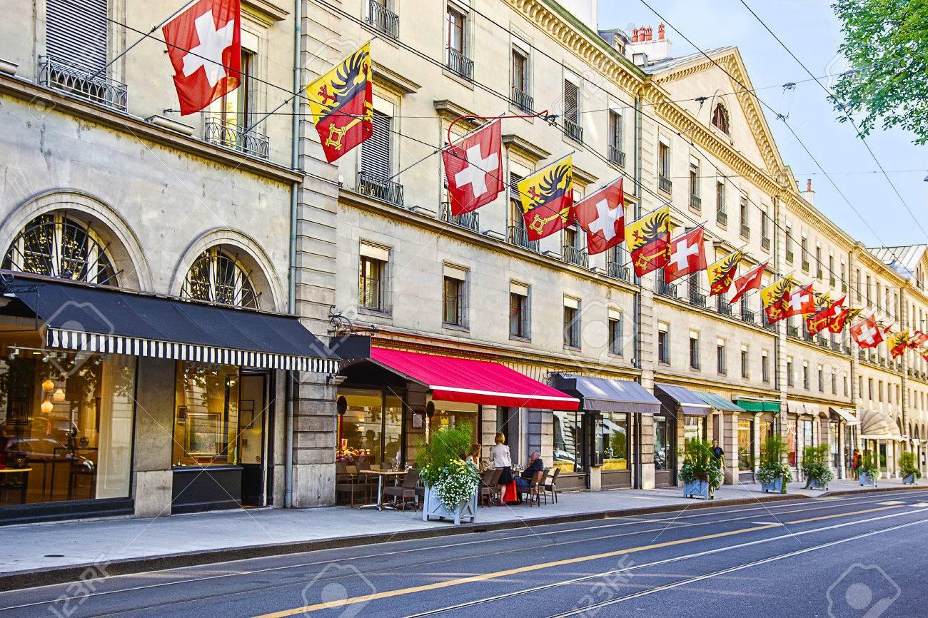 Geneva street view in summertime - 43188521