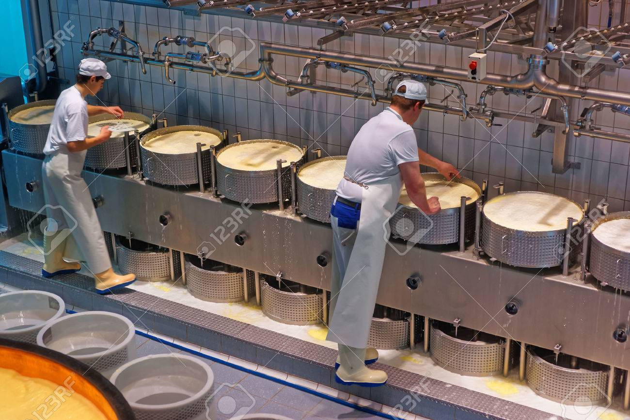 GRUYERE, SWITZERLAND - DECEMBER 31, 2014: Workers during the process of production of Gruyere cheese at the Maison du Gruyere, a famous cheese-making factory in Switzerland - 47140708