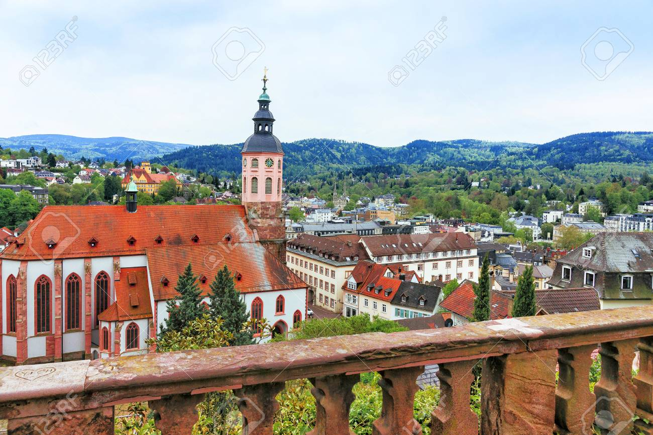 Panoramic View Of Baden Baden Church Stiftskirche And City Baden