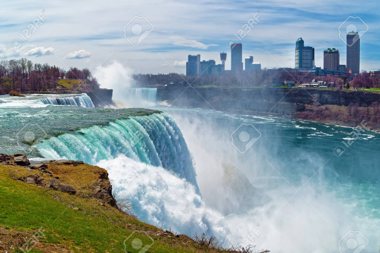 Niagara Falls From The American Side And Skyscrapers In Canadian Stock Photo Picture And Royalty Free Image Image 57810522