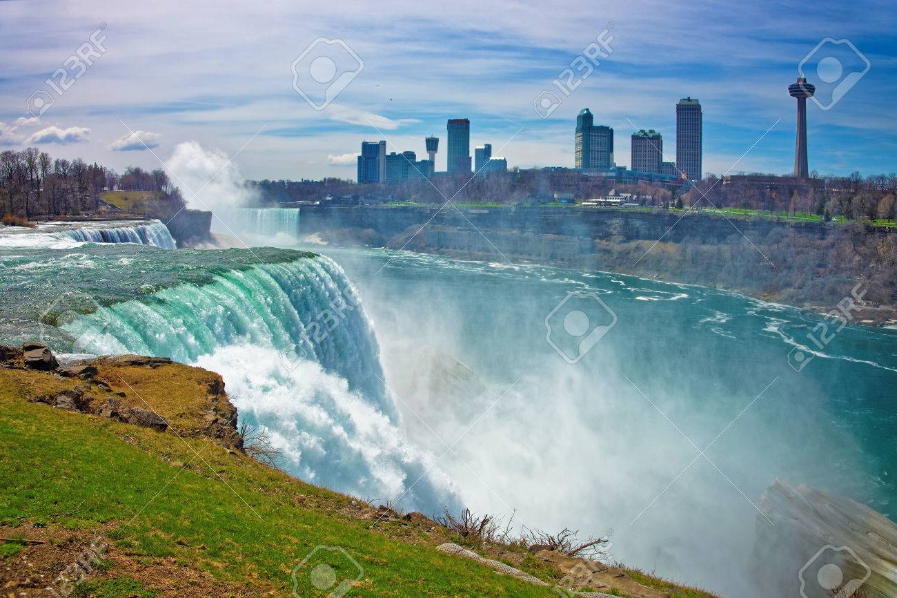 Niagara Falls From American Side And Skyscrapers From Canadian Stock Photo Picture And Royalty Free Image Image 57811011