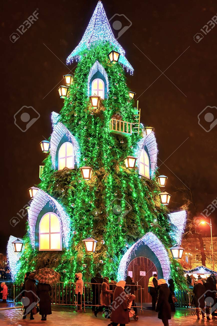 Superior Walking Christmas Tree Part - 13: Stock Photo - Vilnius, Lithuania - December 27, 2015: People Walking Around  The Main Lithuanian Christmas Tree Located At The Cathedral Square In  Vilnius, ...