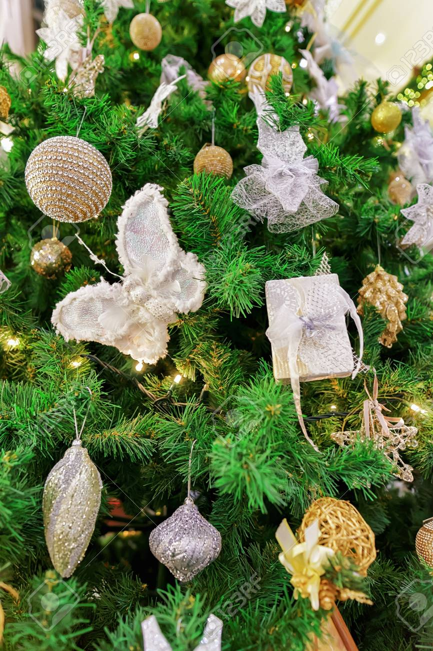 Part Of The Decorated Christmas Tree At The Galerija Centrs In