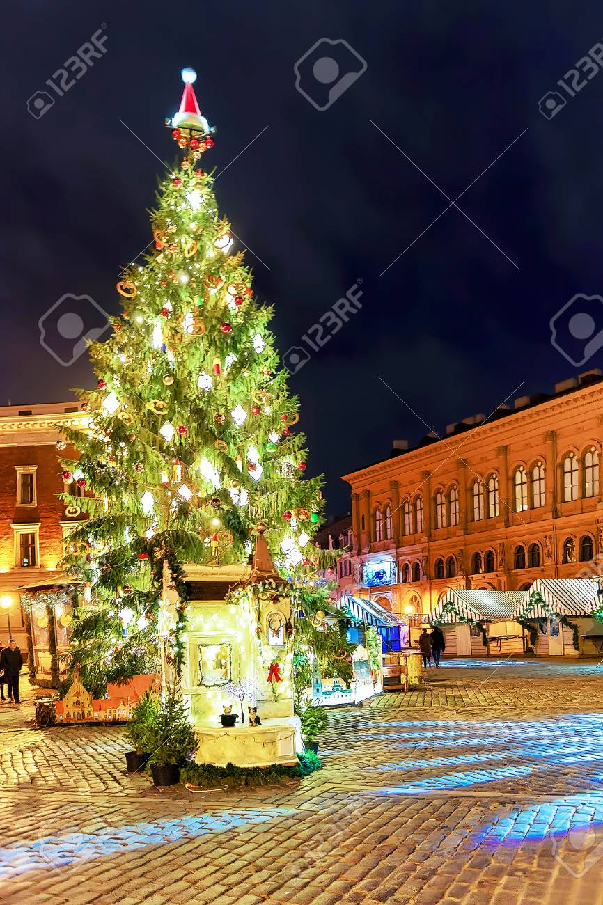 best loved f43f7 aca77 Glowing Christmas tree in the night at the Dome square in old..