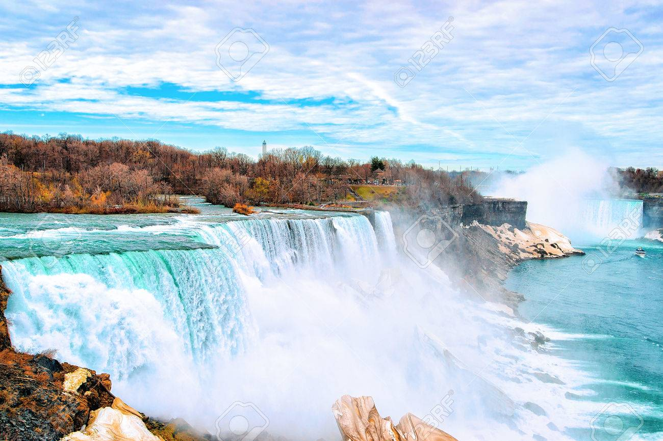 Niagara Falls, American side. A view on American Falls and Bridal Veil Falls. Nature. Early springtime - 83105972