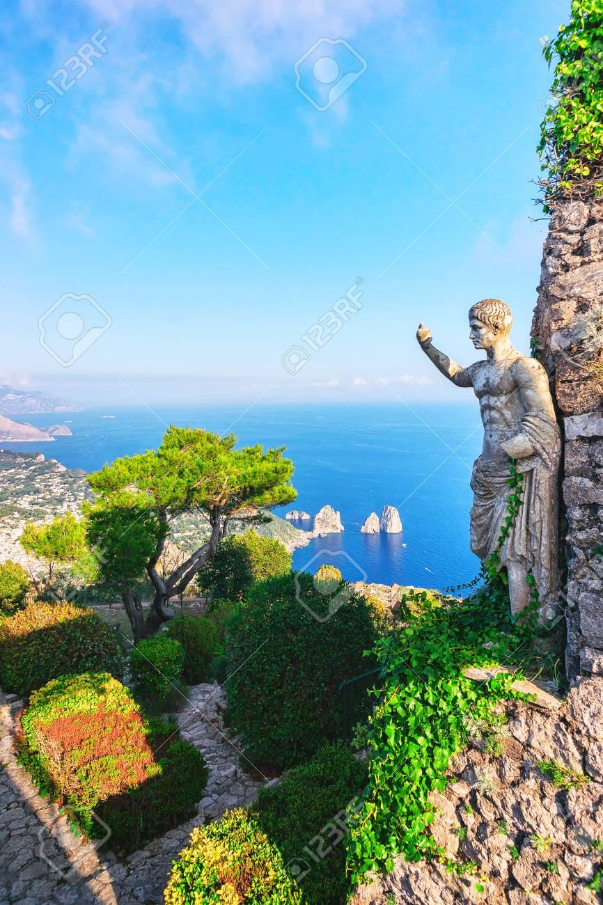 Statue and gardens of Capri Island in Tyrrhenian Sea, Italy - 91517796