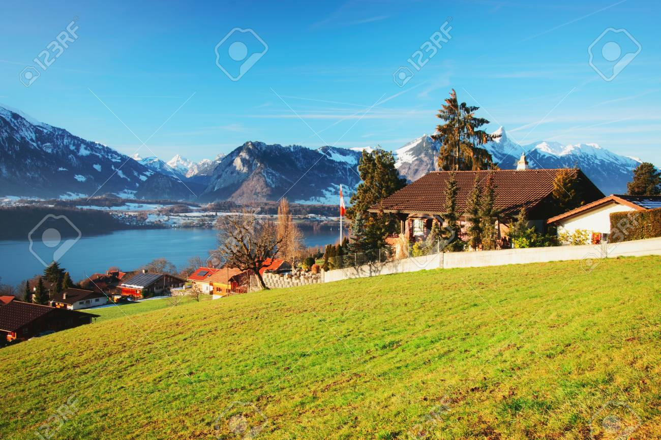 sigrilwil village and swiss alps mountains and thun lake, bern