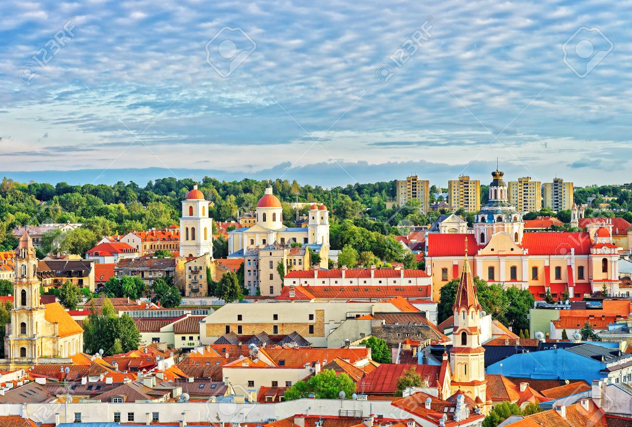 Roof top view of old town in Vilnius with churches steeples, Town Hall, Lithuania - 97519651