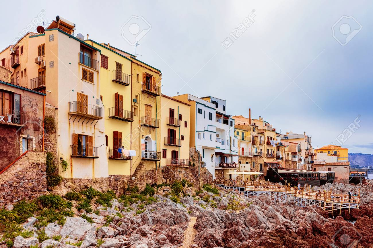 Old houses on the Rocky Coast of Cefalu, Palermo region, on Sicily..