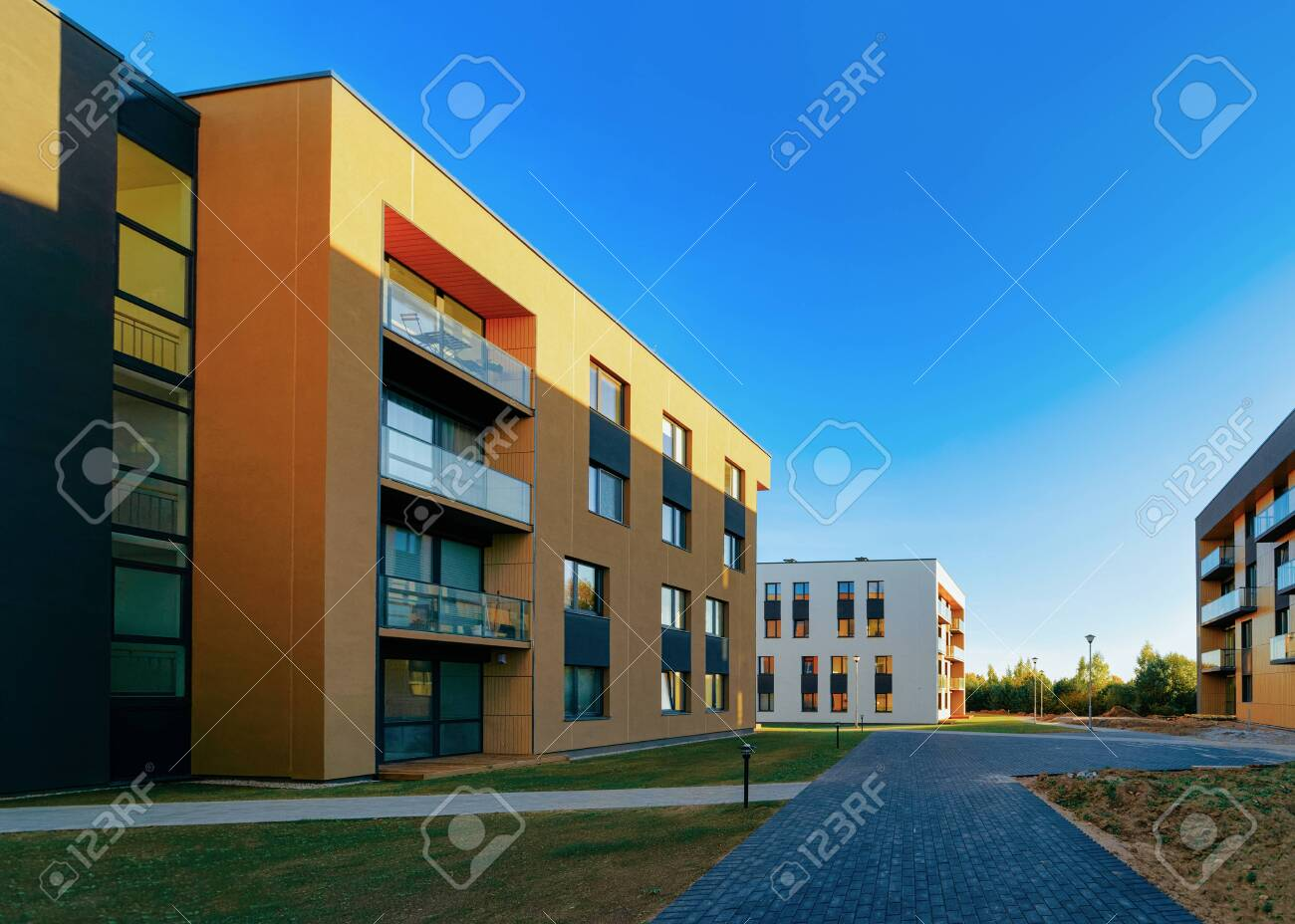 Residential Apartment homes facade architecture and outdoor facilities - 134403661