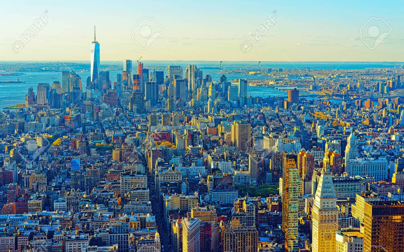 Aerial panoramic view on Skyline with Skyscrapers in Downtown and Lower Manhattan, New York City, America. USA. American architecture building. Panorama of Metropolis NYC. Metropolitan Cityscape - 136870090
