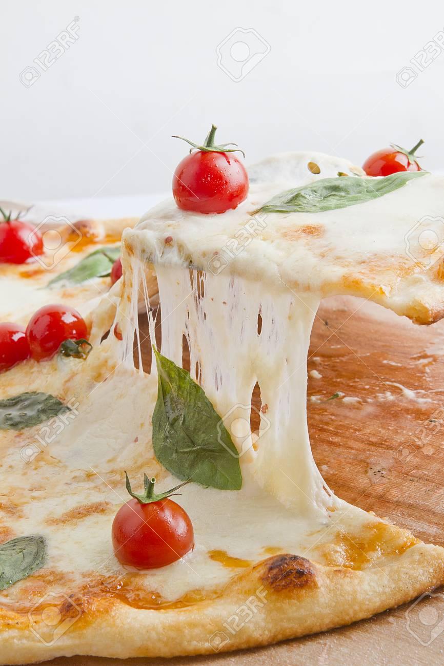 Margarita Pizza Slice Stock Photo