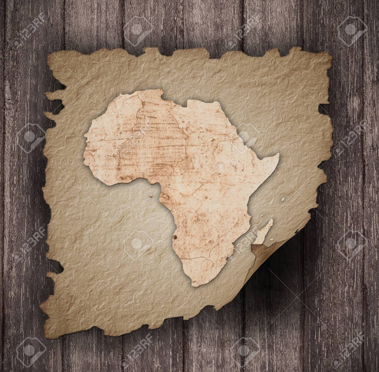 An Old Map Of Africa On An Old Paper Stock Photo Picture And
