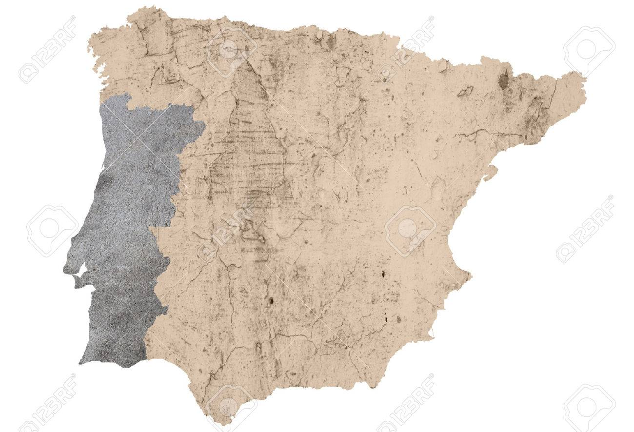 A Map Of Iberian Peninsula Textured And Isolated On White Stock ...