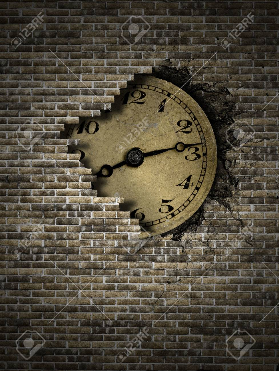 Old Clock On A Brick Wall Stock Photo Picture And Royalty Free Image Image 27314417