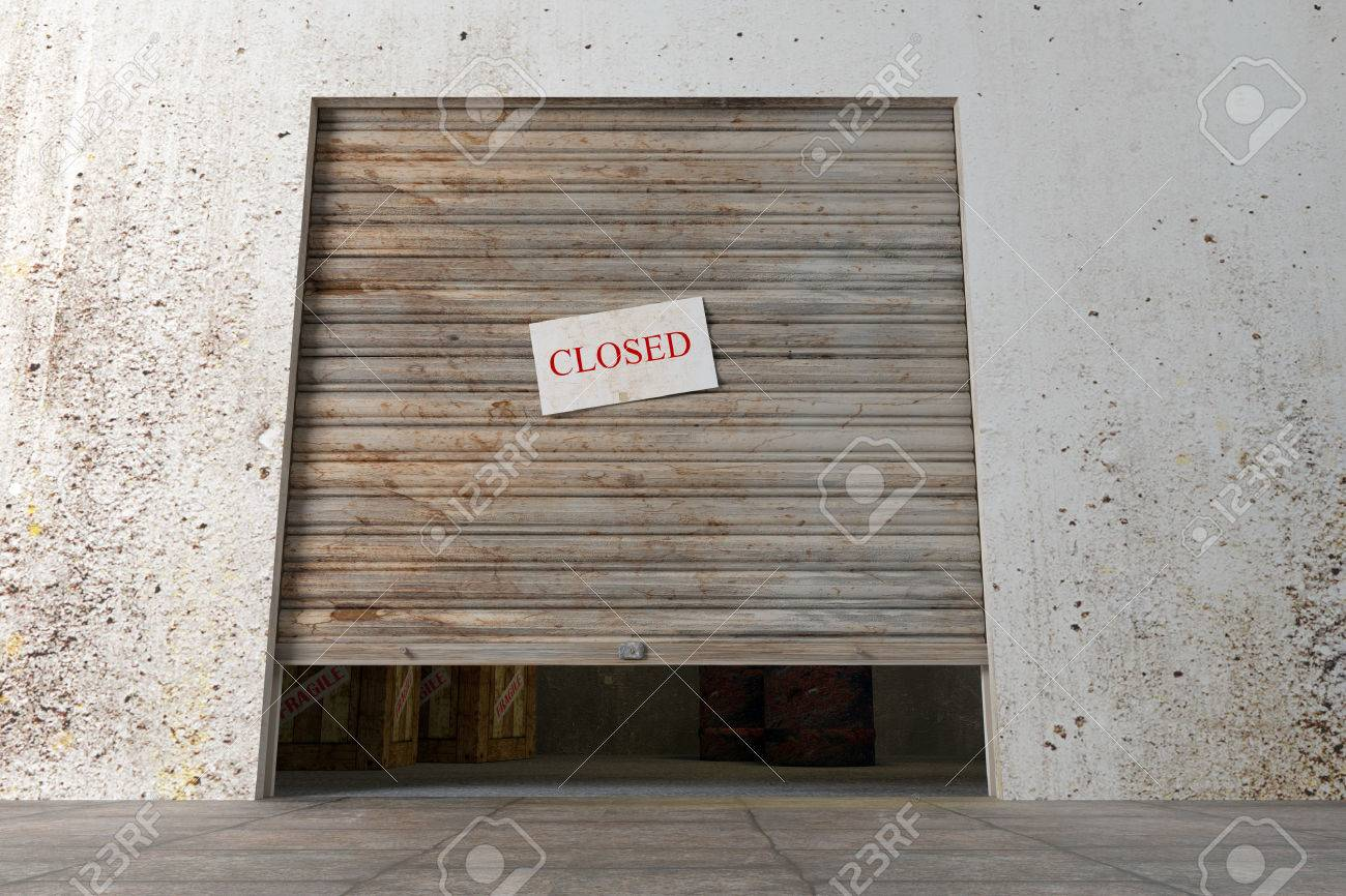 Design In 3d Of A Door Of An Old Closed Warehouse Stock Photo   31427338