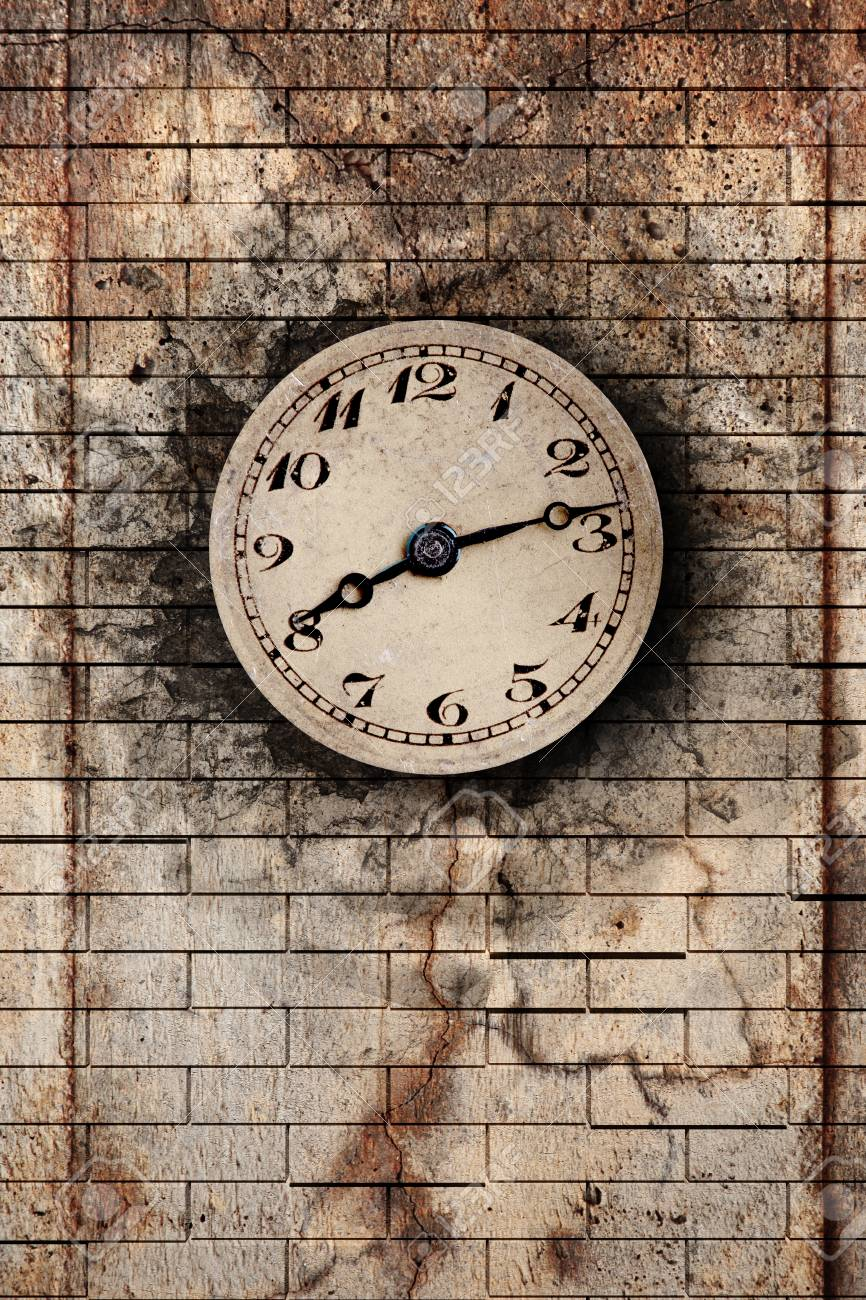 3d rendering of an old clock on a brick wall