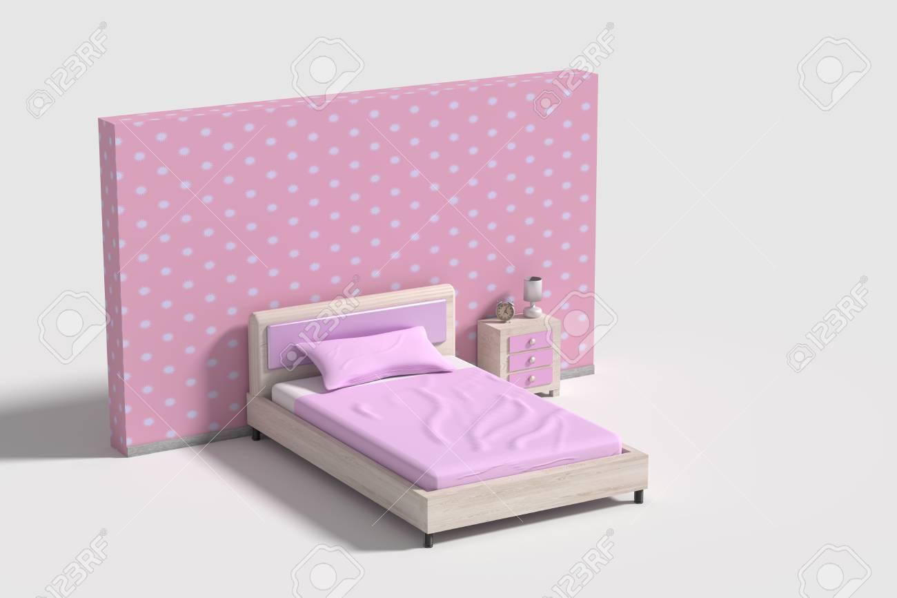 Rendu 3d D\'un Intérieur De Chambre En Rose, Violet Et Blanc Colors ...