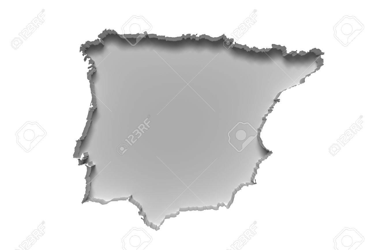 Las 3d De La Silueta De Blanco Mapa Península Ibérica En La Pared Blanca Fotos Retratos Imágenes Y Fotografía De Archivo Libres De Derecho Image 55730971