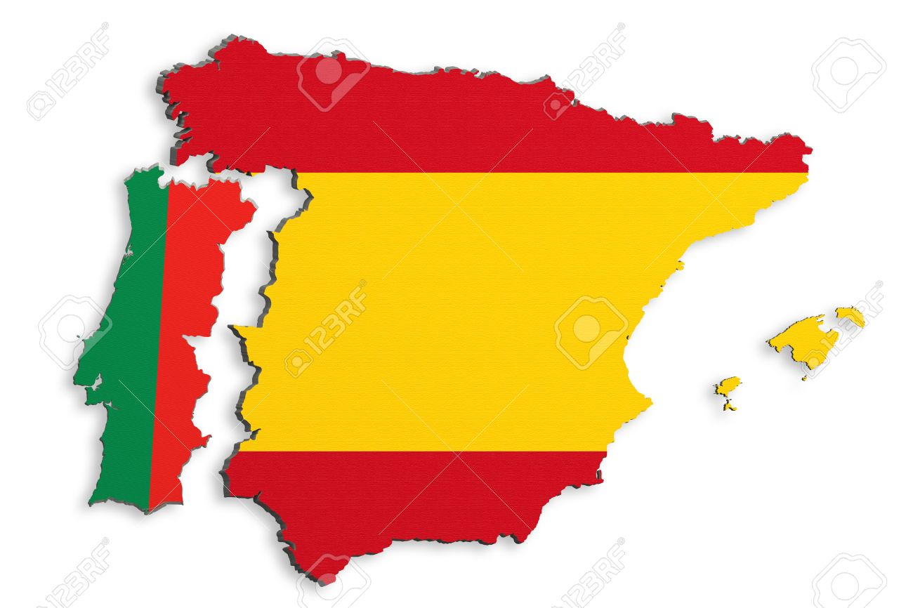 3d rendering of bright colorful Iberian Peninsula map isolated..