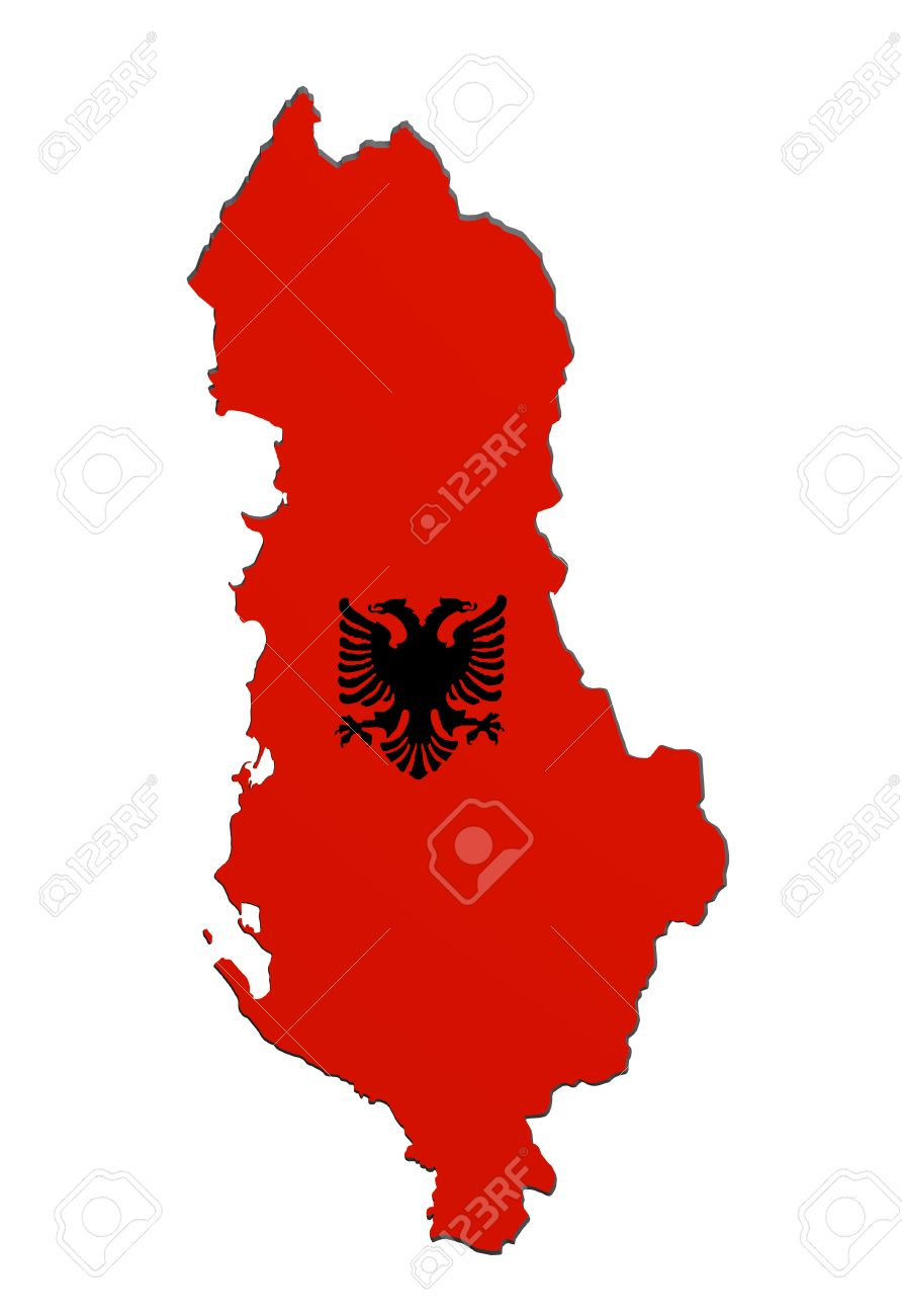 D Rendering Of Albania Map And Flag On White Background Stock - Albania map