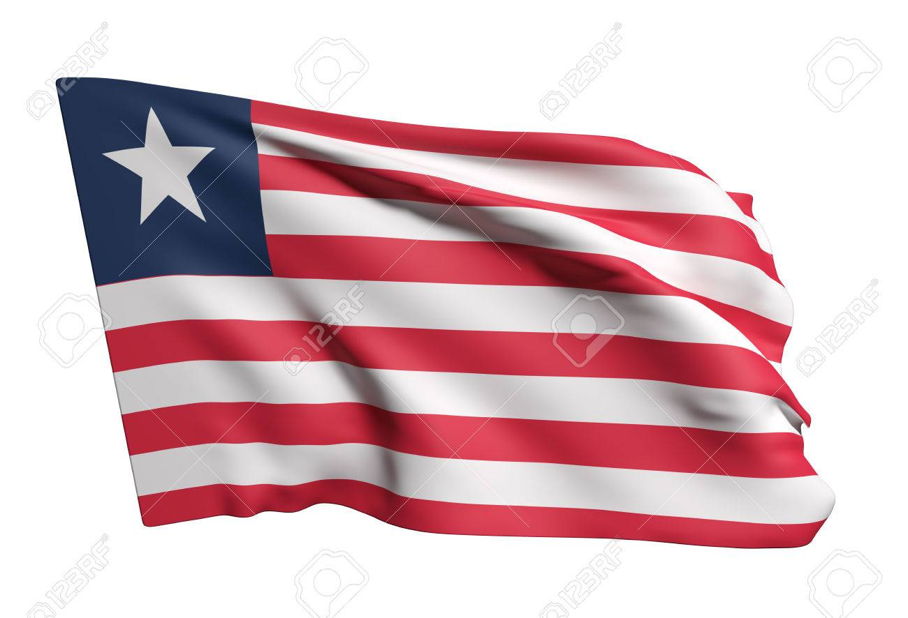 3d rendering of Liberia flag waving on a white background