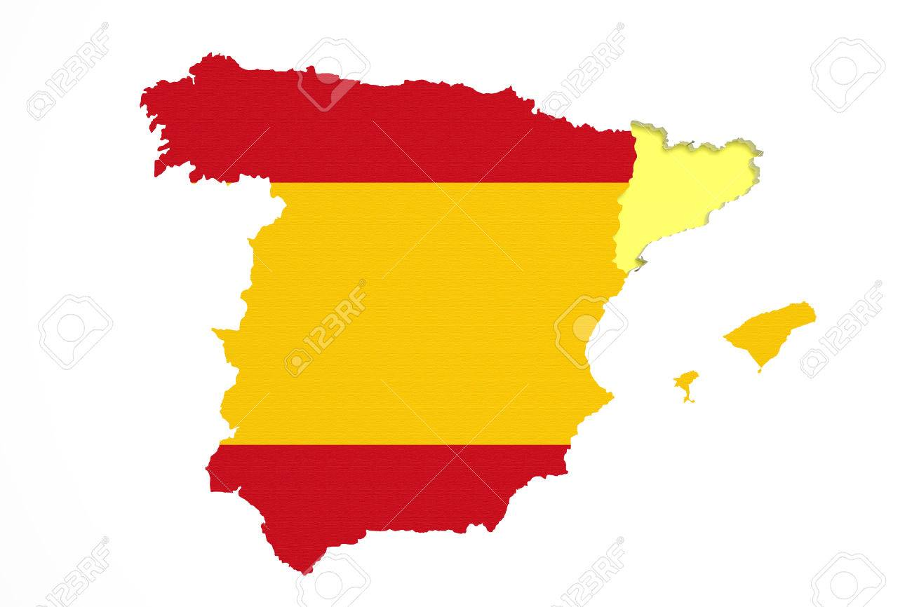 Spain Map Flag.3d Rendering Of Map Of Catalonia With Spain Map And Flag