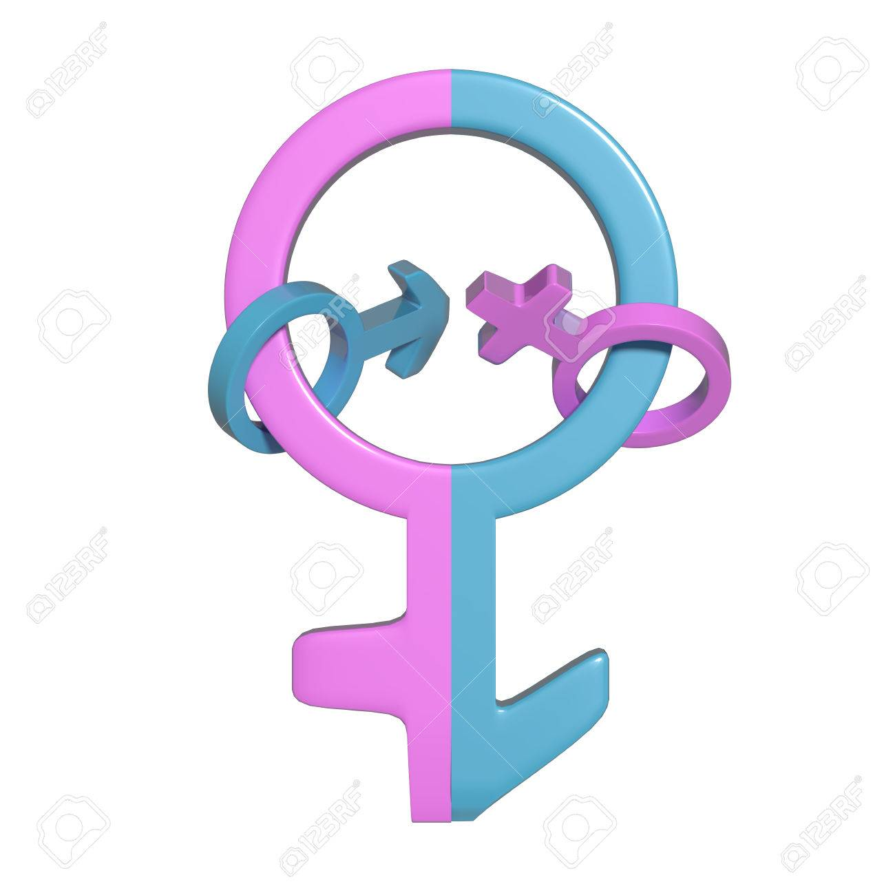 3d Rendering Of Pink And Blue Interflown Symbol Of Men And Women