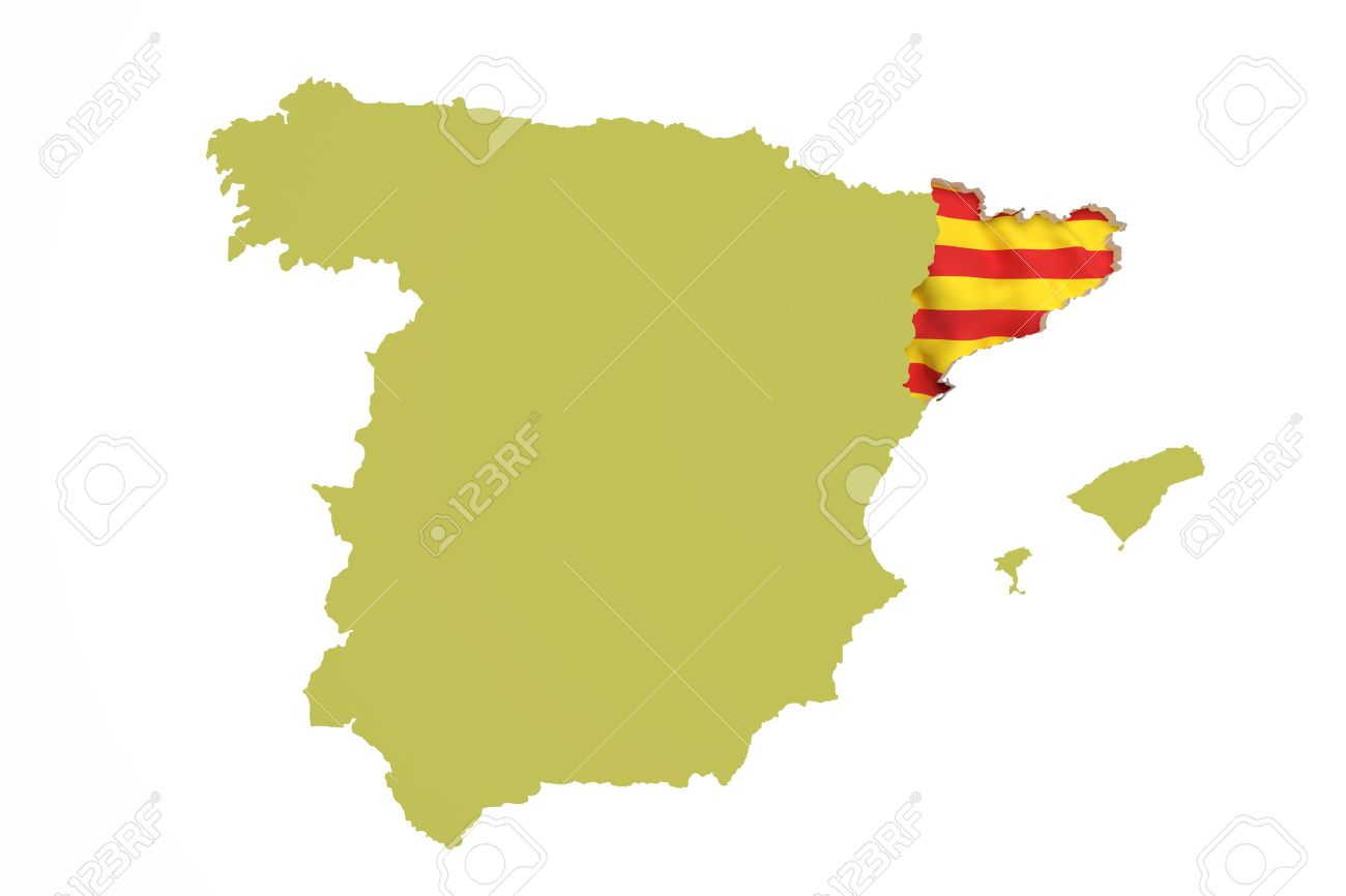 3d Rendering Of Map Of Catalonia With Catalonia Flag And Spain
