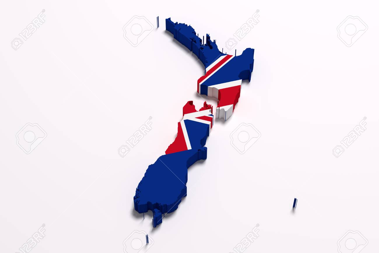 3d Map Of New Zealand.3d Rendering Of A New Zealand Map And Flag