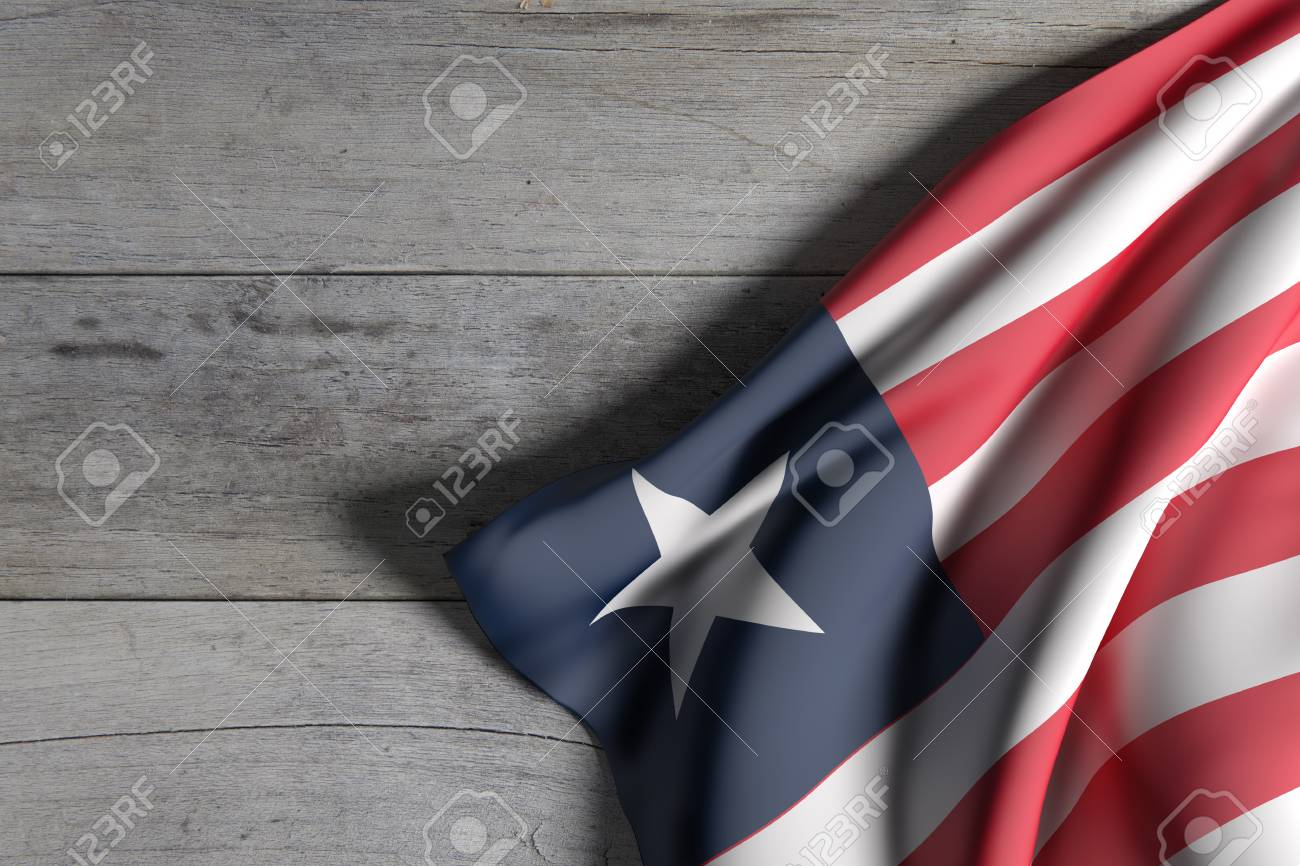 3d rendering of Liberia flag waving on wooden background