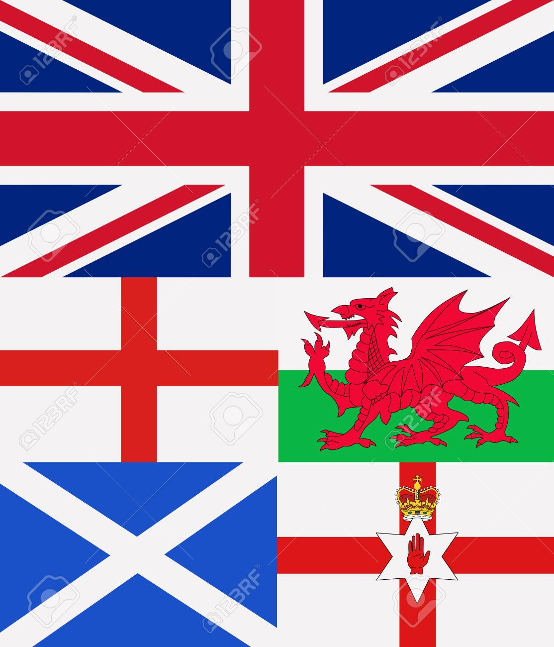 Illustration Of All The Countries United Kingdom Flags Stock