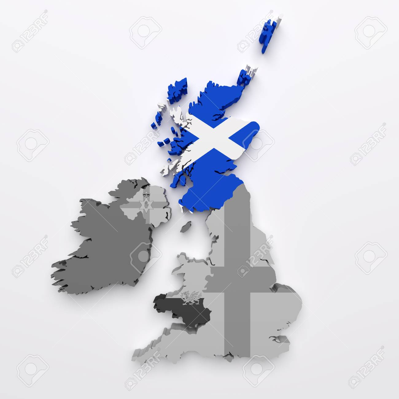 3d Rendering Of All The United Kingdom Countries Maps And Flags Scotland Flag In Color