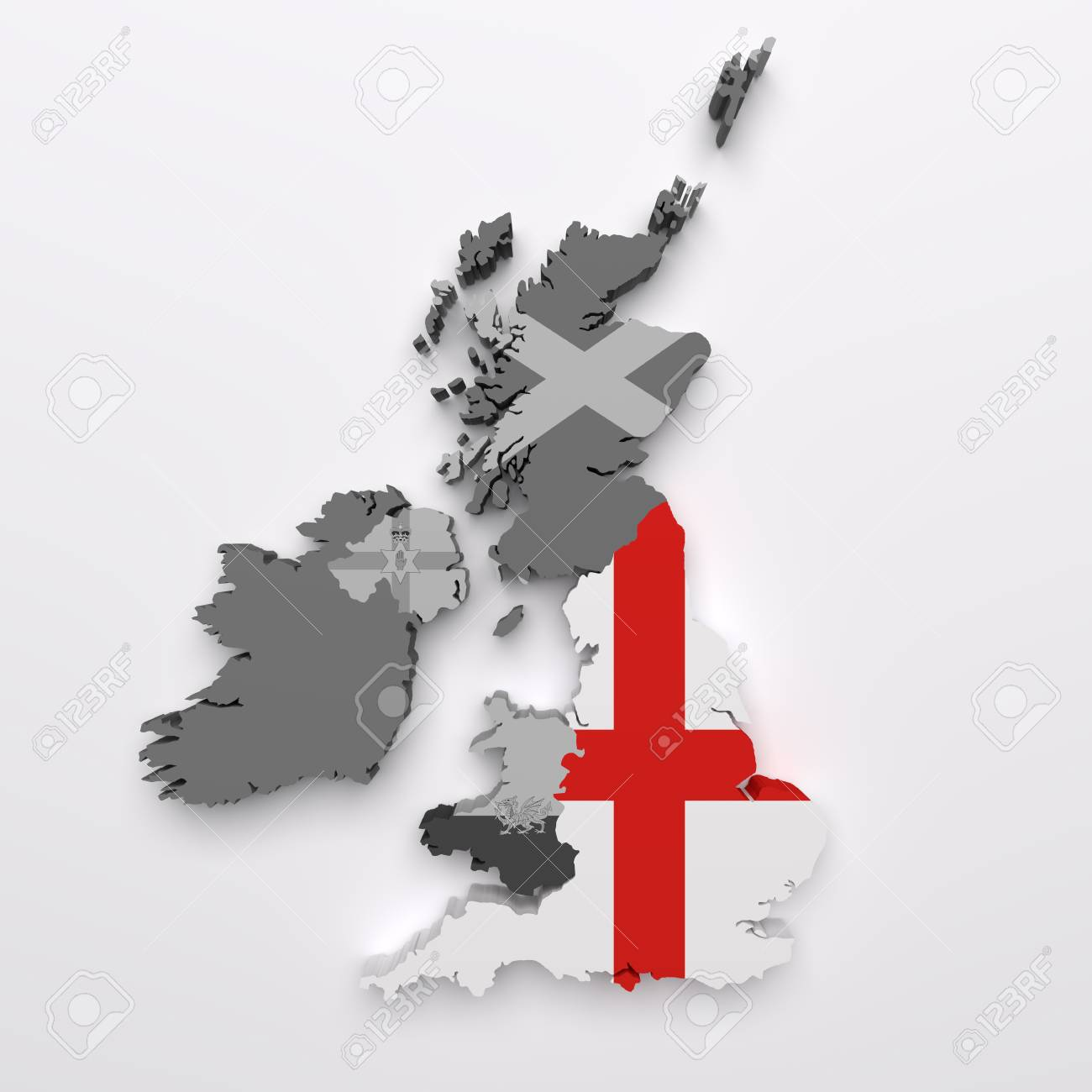 3d Rendering Of All The United Kingdom Countries Maps And Flags England Flag In Color