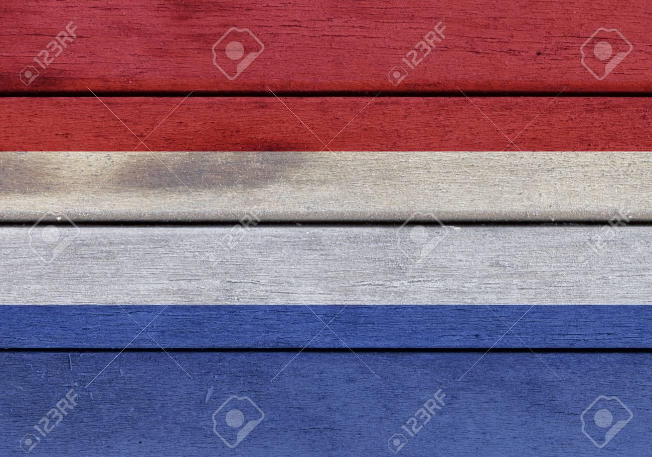 Illustrazione Della Bandiera Olandese Su Una Superficie Di Legno