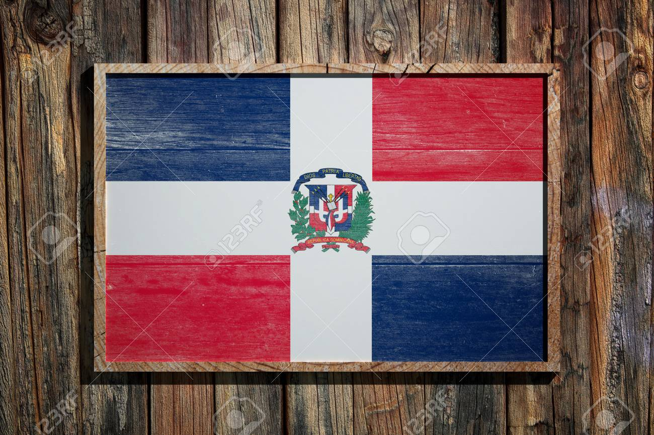 3d Rendering Of Dominican Republic Flag On A Wooden Frame Over ...