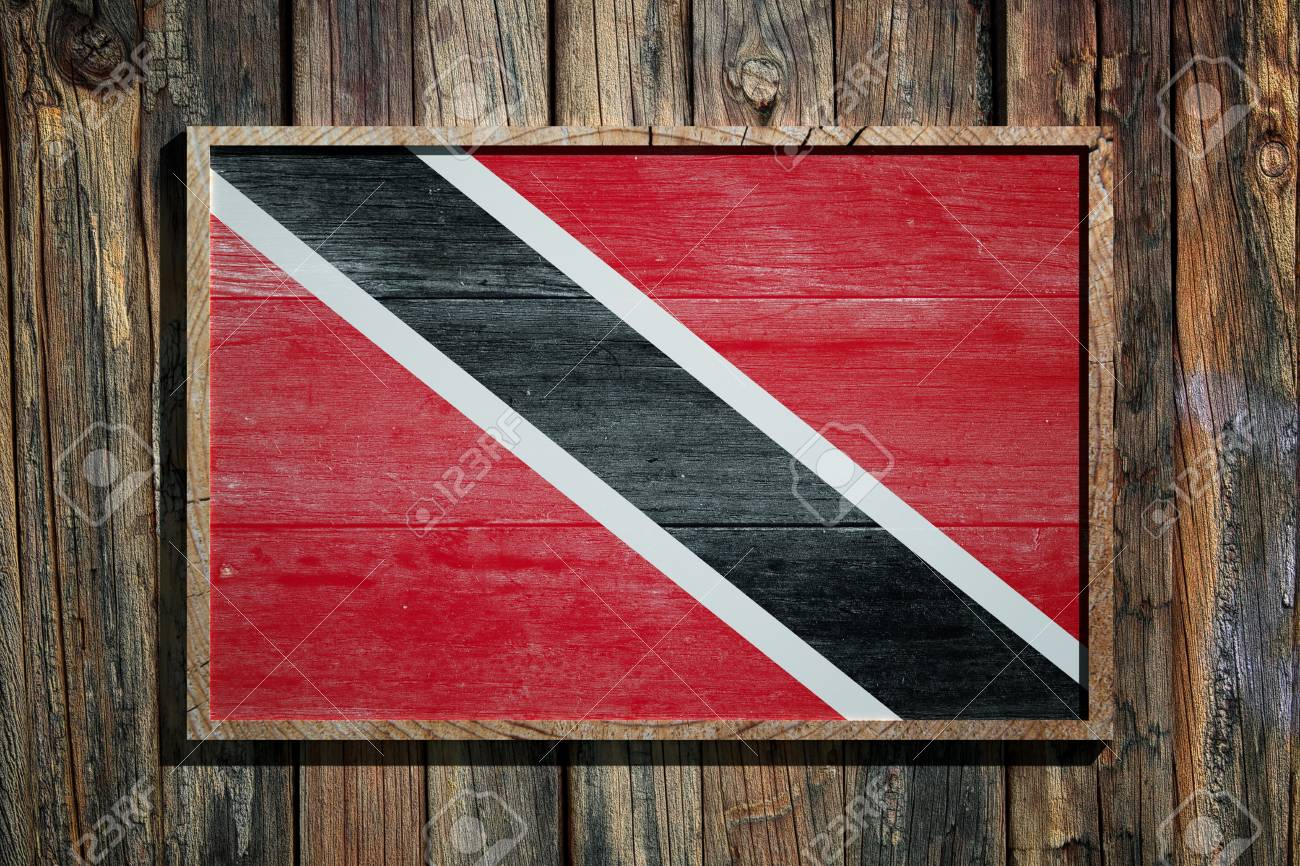 3d Rendering Of Trinidad And Tobago Flag On A Wooden Frame Over ...