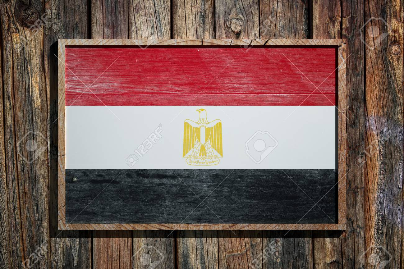 3d Rendering Of Egypt Flag On A Wooden Frame Over A Planks Wall ...