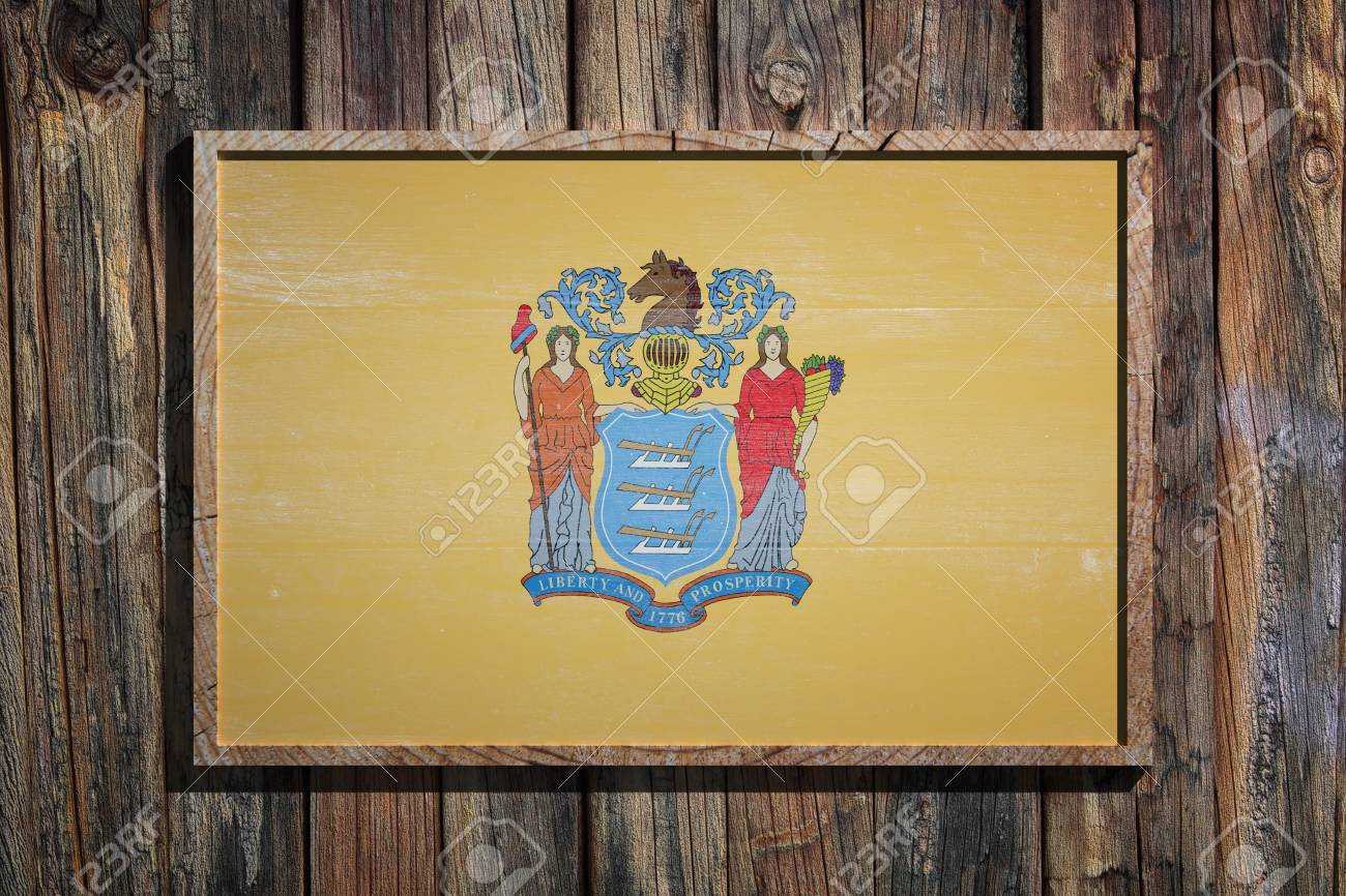 3d Rendering Of A New Jersey State USA Flag On A Wooden Frame ...
