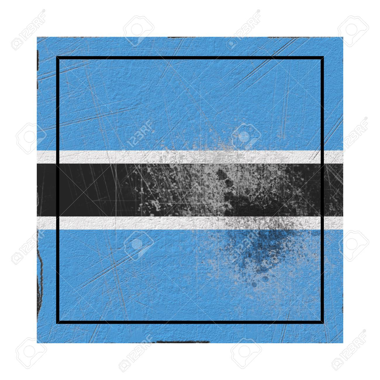 3d rendering of an old Botswana flag in a concrete square