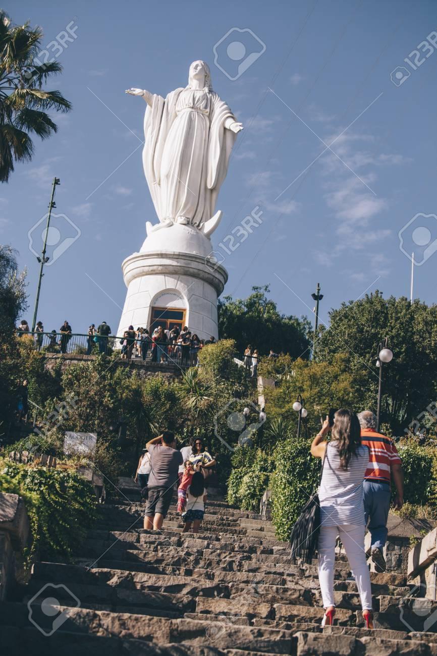 Santiago Chili 9 Février 2017 Statue Vierge Inmaculada Concepcion à Cerro San Cristobal Santiago Du Chili