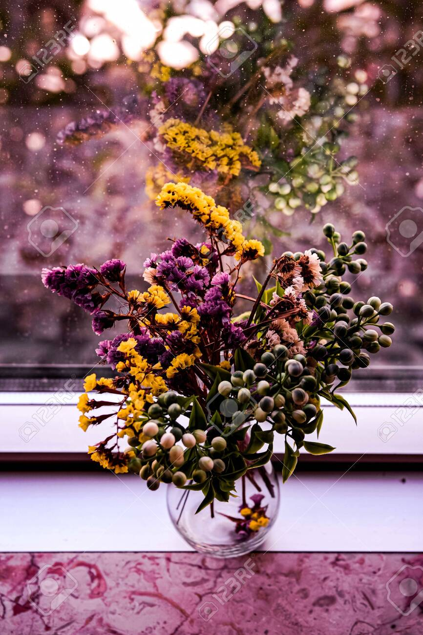 Dried Flower Autumn Bouquet In Vintage Glass Vase On Windowsill Stock Photo Picture And Royalty Free Image Image 134038436