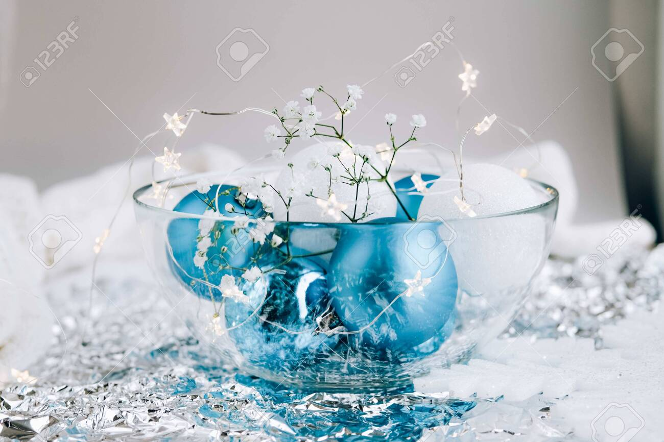 White And Blue Holiday Decorations On Silver Background Christmas Stock Photo Picture And Royalty Free Image Image 136206674