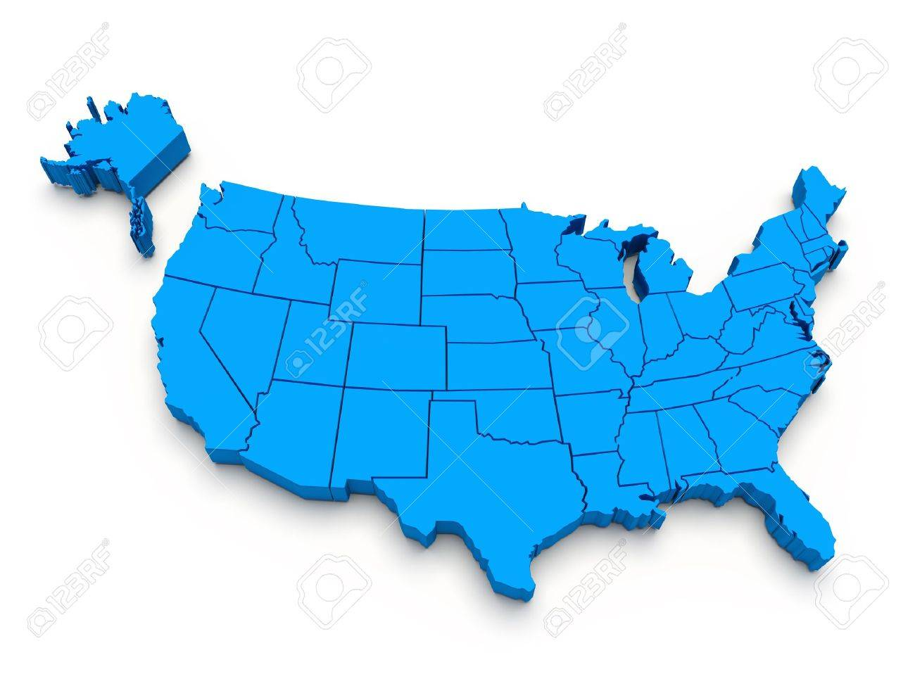 blue map of usa 3d stock po 10080479