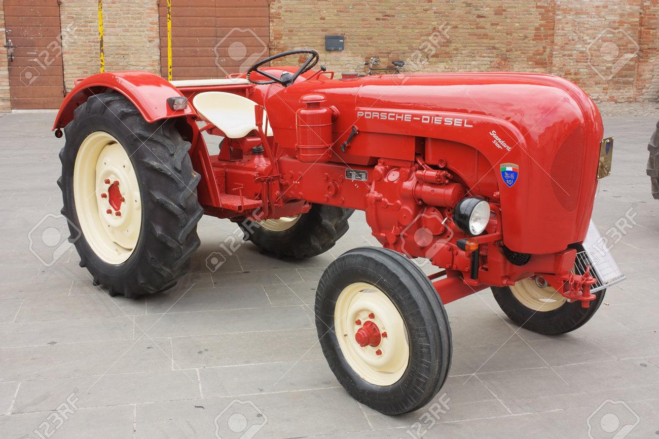 FORLIMPOPOLI, ITALY - OCTOBER 10: Exhibition of old tractors: vintage tractor  Porsche exhibit at Autunno forlimpopolese on october 10, 2010 in  Forlimpopoli, Italy.  Stock Photo - 7973865
