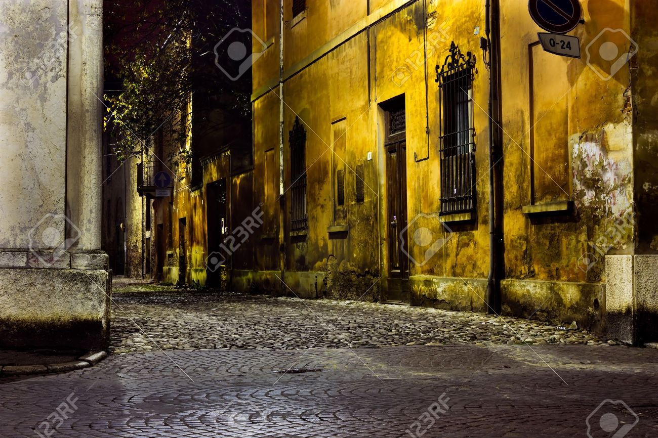 dark alley at night, dirty corner of street  in the old town Stock Photo - 8204067